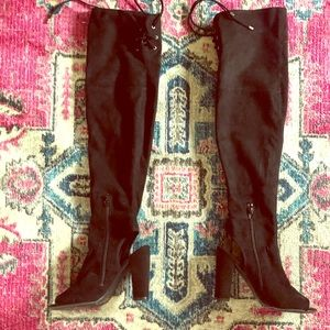 Guess over the knee open toe boots